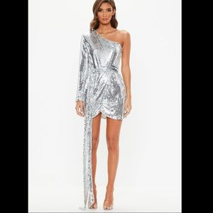Peace + Love Silver Sequin One Shoulder Wrap Mini